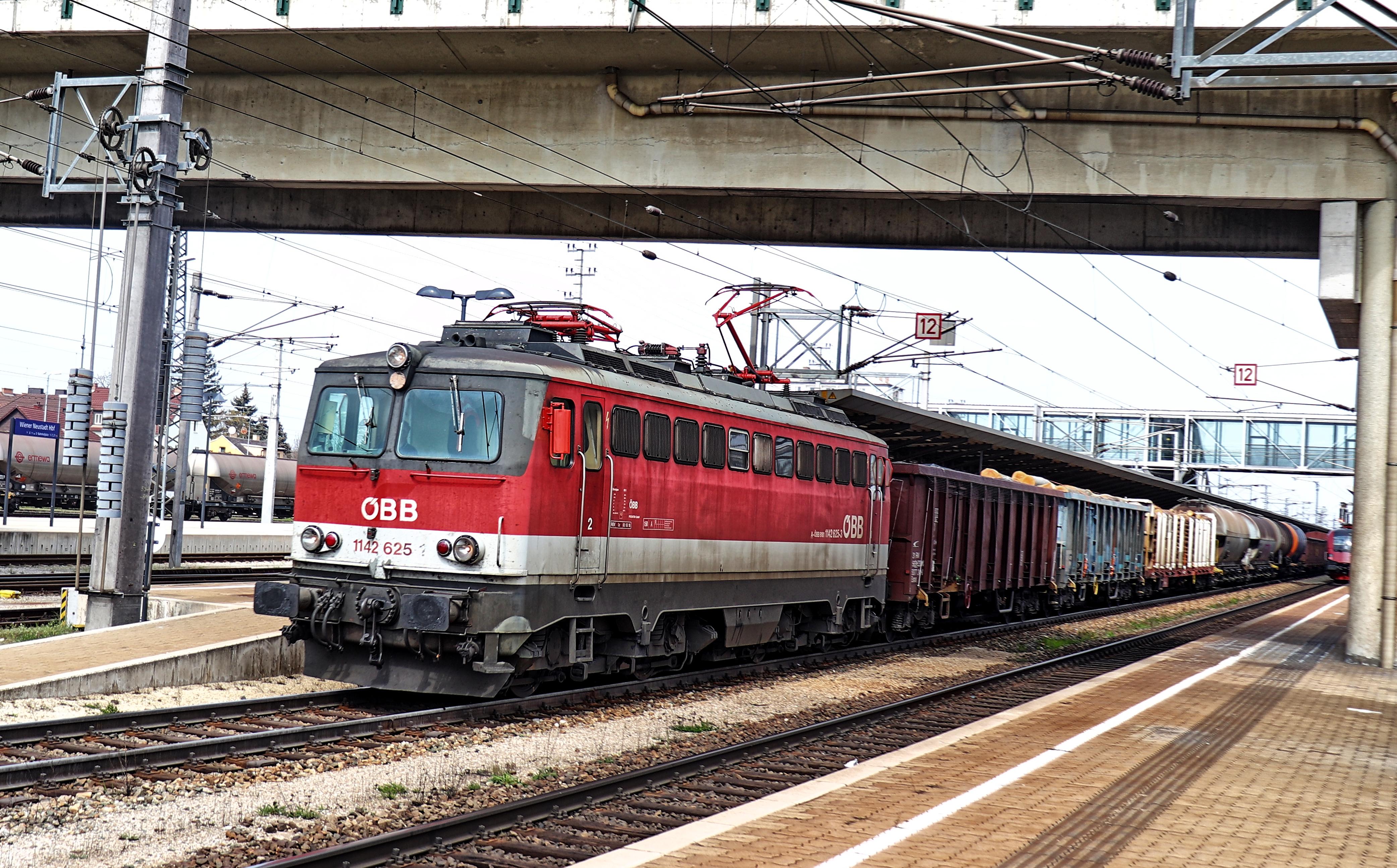 Güterzug bei der Durchfahrt durch den Bahnhof Wiener Neustadt