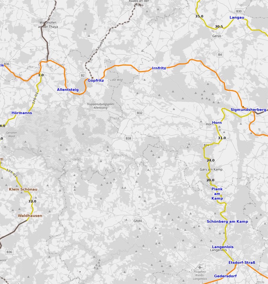 Karte von den Eisenbahnstrecken in den Bezirken Horn und Waidhofen/Thaya