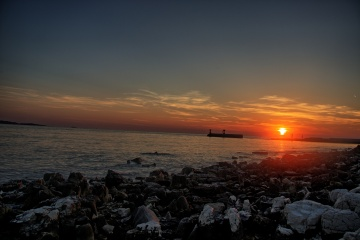 Sonnenuntergang am Strand von Peroj