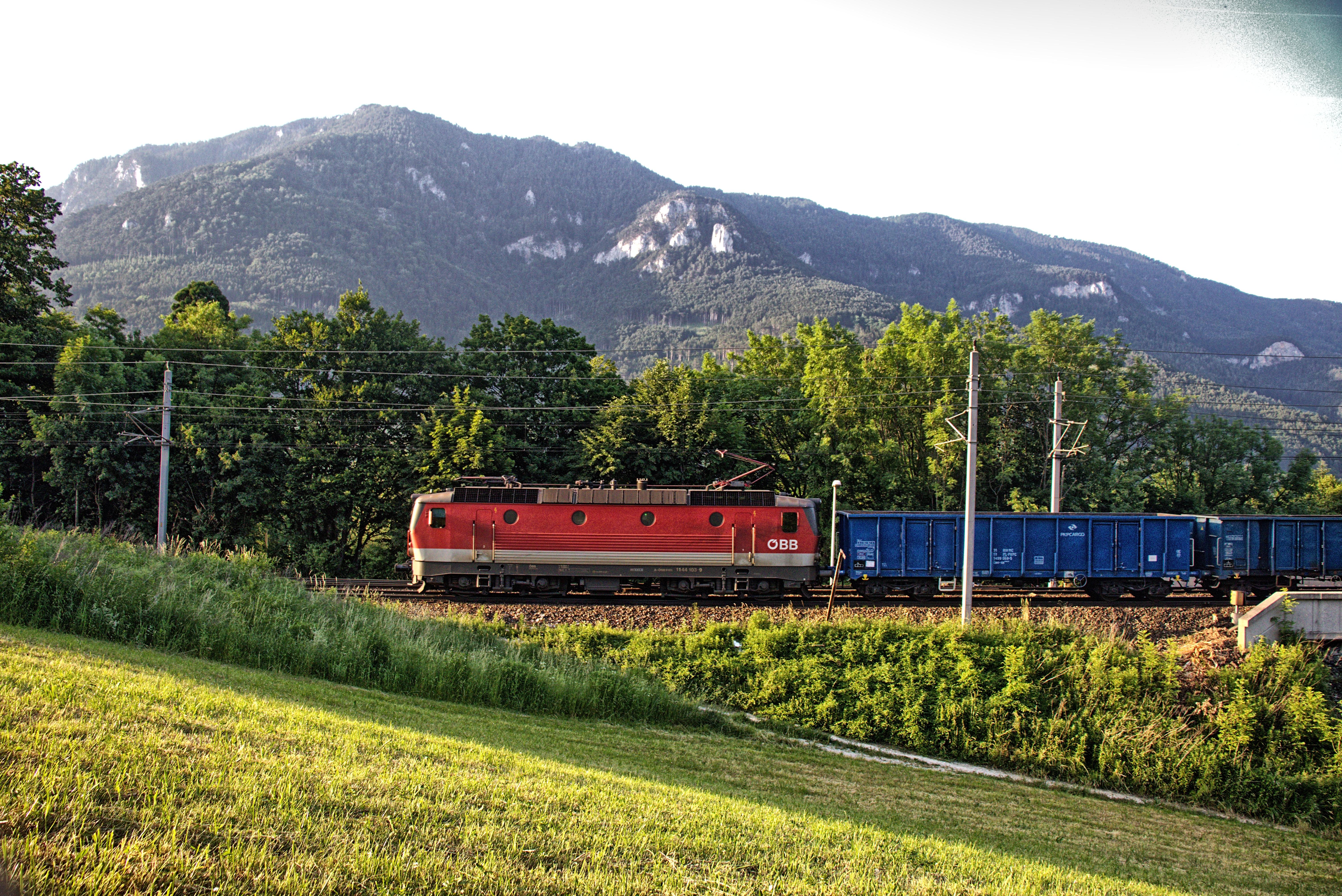 ÖBB 1144 mit einem Güterzug kurz vor dem Bahnhof Payerbach-Reichenau